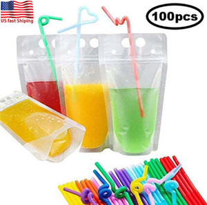 US Fast Shiiping 100pcs Clear Drink Pouches Bags frosted Zipper Stand-up Plastic Drinking Bag with straw with holder Reclosable Heat-Proof