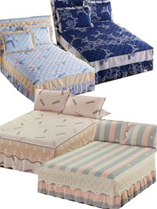 1 3pcs Bedsheet Thick cotton bed skirt printed striped bedspread bedding a variety of styles