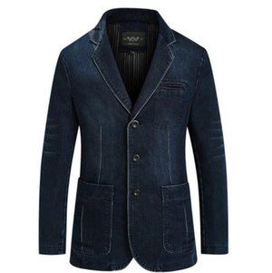 V cuello delgado recto diseñador para hombre Jean chaquetas de manga larga para hombre de las chaquetas de mezclilla con los bolsillos