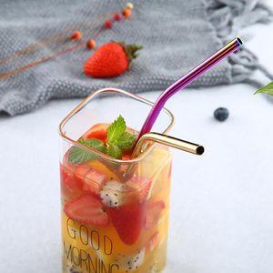 ABEDOE réutilisable Consommation d'alcool en métal robuste 304 Pailles en acier inoxydable Bent droite boissons Straw Bar Party Accessoires