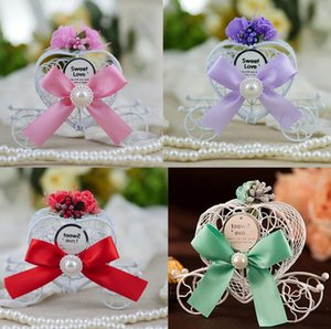 Европейская мода Iron Romantic Heart Shape Pumpkin Carriage коробка конфет для DIY Свадьба Фавор и подарки Свадебный декор подарочной упаковки