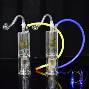 LED en verre Tubes d'eau Bong 6.3 pouces Double recycleur huile Dab Rigs Inline Stero Matrice Perc barboteur en verre narguilés huile Concerntrate tuyau