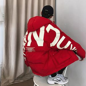 Homens Streetwear Oversized bolha Jacket 2020 Parka Mens Carta Fashions impressão Hip Hop Windbreaker Womens coreano Casacos