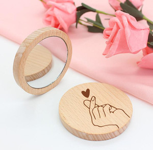 100pcs Wood Small Round Mirror Portable Pocket Mirror Wooden Mini Makeup Mirror Wedding Party Favor Gift Custom Logo