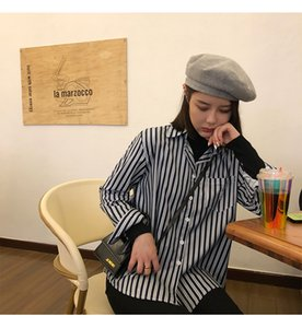 Vertical striped shirt female chic long-sleeved folded shirt Design sense 2020 New Lady retro blouse Leisure Beauty