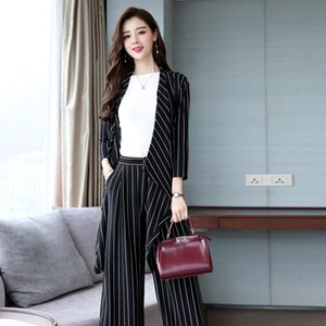 Women's suits women's striped casual suit two-piece suit (coat + pants) spring and autumn new fashion temperament slim dress
