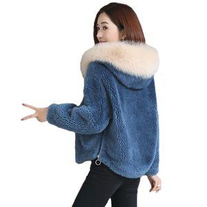 Высокое качество имитация шубы женские короткие осенние зимние новые с капюшоном толстые гранулы стриженого ягненка плюш пальто женщин Корейский V191209