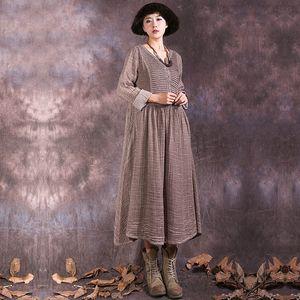 2019 Sommer Vintage Frauen Kleid Baumwolle Leinen V-Ausschnitt Kleid
