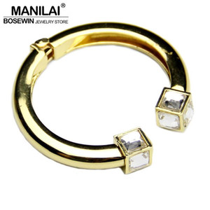 whole saleMANILAI Fashion High Quality Alloy Square Crystal Bangles Bracelets For Women Charm Design Cuff Bangles Statement Jewelry