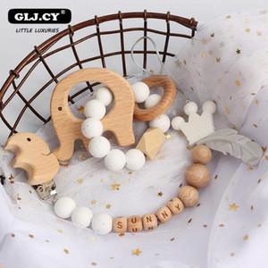 Personalizado bebê Chocalhos Set animal Elk Amigurumi Elephant Teether titular chupeta clipe de madeira Enfermagem ChainBPA grátis Brinquedos ufYu #