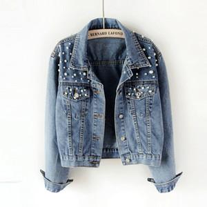 Denim Ceket Kadınlar Yeni Sonbahar Kadın Jean ceketler İnci Casual Denim Ceket Kadın Coat Uzun Kollu Dış Giyim
