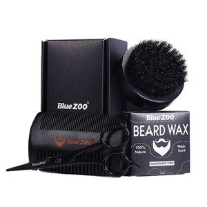 Para hombre de la barba Cuidado kit de aseo bigote bálsamo cepillo peine tijera Gift Set