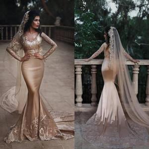 New Deep Champange Prom Dresses 2019 V-Ausschnitt Perlen Pailletten Spitze Appliques Langarm Abendkleider Dubai Sexy Zwei Stücke Mermaid BC0733