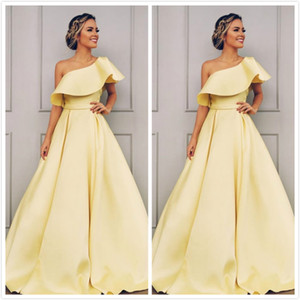 Sexy Cheap 2019 Bridesmaid Dresses One Shoulder A-line Satin Wedding Party Guest Dresses Simple Formal Gowns