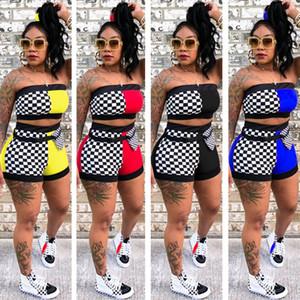 Mulheres Duas peças Outfits conjuntos de treino de verão Sexy com painéis de xadrez Xadrez Top Slim Bodycon Shorts Com Caixilhos ternos roupas