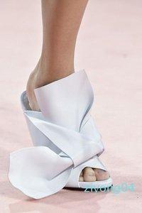 Yellow Green Women High Heel Sandals Big Bowtie Wedding Designer Dress Party Shoes Summer Satin Stilettos Slides Brand Plus Size EU35-42 z04