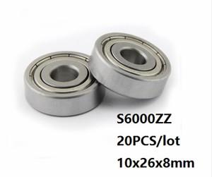 20PCS / الكثير S6000ZZ تحمل 10 * 26 * 8MM S6000Z S6000 Z ZZ الفولاذ المقاوم للصدأ الكرة الأخدود العميق تحمل 10x26x8mm