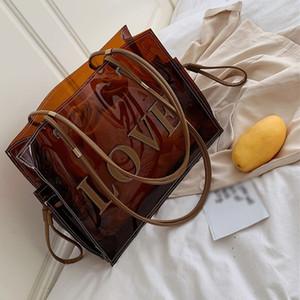 여성 명품 핸드백 디자이너 투명 손 여성들 대형 클리어 토트 백의 패션 - 탑 핸들 가방