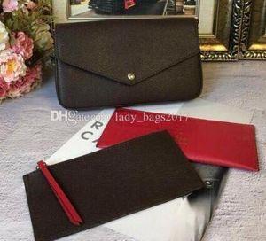 Classique Femmes Sacs Impression Fleurs 3 en 1 chaîne sac cuir véritable portefeuille de cartes à bandoulière Sac Messenger épaule Portefeuilles Sac à main