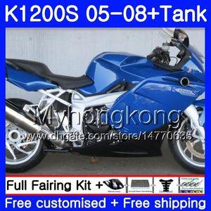 Gövde + Tank BMW K1200 S K 1200 S K1200S 05 06 07 08 09 10 311HM.15 K-1200S K 1200S 2005 2006 2007 2008 2009 2010 Kaplamalar parlak mavi sıcak
