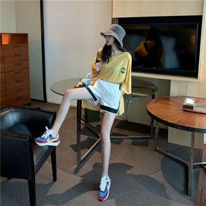 2020 Summer Fashion Womens cintura alta Shorts Ladies Verão Elastic cintura Casual Hotpants Branco Preto Patchwork Streetwear