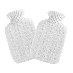 2Pcs White Knitted Hot Water Rubber Bag Bottle Cover Case Warm Keep Winter
