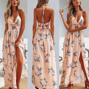 Womens Summer Boho Maxi Long Dress Evening Party Beach Chain Dresses Sundress Floral Halter Dress Summer Hot Sale