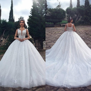 2020 Luxurious Crystal Wedding Dresses With Beads Ball Gown Sheer Illusion Spaghetti Neck Sleeveless Long Arabic Bridal Gowns BC2774