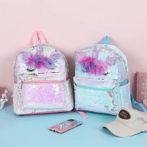 2 개 색상 유니콘 배낭 키즈 소녀 만화 3D 장식 조각 학교 가방 새로운 청소년 패션 여행 가방