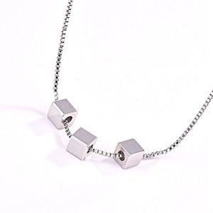10pcs European and American fashion simplicity small Square Pendant necklaces female Sweet short paragraph clavicle necklaces T-194