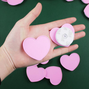 Pink Love heart shape Cell Phone Holder Real 3M glue Expandable Grip Stand Flexible finger ring phone holder by DHL