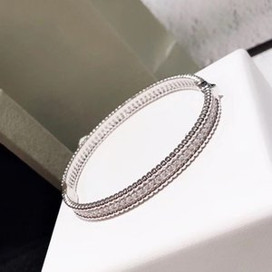 Marca Pure 925 Sterling Silver Jewelry For Women completa Pietra sottile braccialetto d'argento del trifoglio braccialetto gioielli da sposa Intorno Perline BRACCIALE