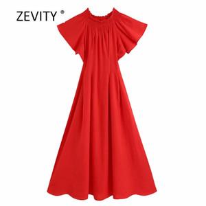 Zevity femmes mode hors épaule plis élastiques robe rouge midi dames style vacances manches courtes vestidos Chic Robes DS4033