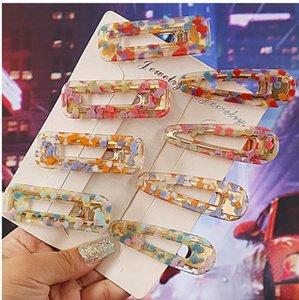 Клип Заколки девушки Урожай полым волос для женщин Leopard Marble текстурированные Геометрическая Water Drop Утконос Заколка для волос Аксессуары DHA404