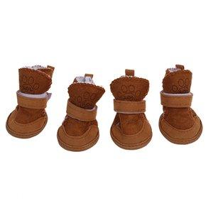 Warm Walking Cozy Pet Dog Shoes Boots Clothes Apparel 3# - Tan--Fit Paws (Approx.): 1 3 4'' x 1 1 2'' (L x W)