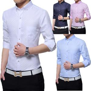 Moda Erkekler Lüks Casual Slim Fit Şık Resmi elbise Gömlek Uzun Kollu Yeni Erkekler Akıllı Casual Gömlek
