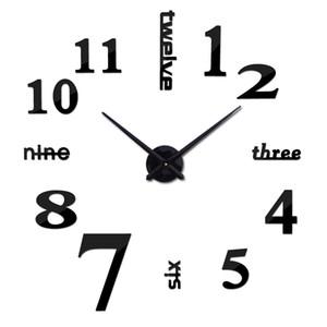 Mode 3d Horloge murale Diy design Miroir acrylique Horloges en Europe Autocollants décoratifs Grande montée montre électronique sur le mur
