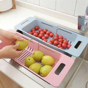 Lavello retrattile Drain Storage Kitchen Plastic Fruit Washing Bowl Backsticks Rack per uso domestico Vegetale stoccaggio ciotola rack
