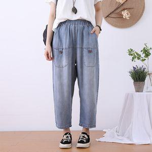 Women Jeans Pockets Casual Elastic Waist New High Waist 2020 Summer Thin Loose Straight Harem Capri-Pants Women Trousers Fashion