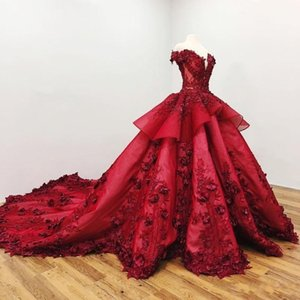 2020 Dark Red Off The Shoulder Ball Gown Quinceanera Party Dresses Floral Sweet 16 Long Sleeves Lace-up Applique Pearls Beads Evening Gowns
