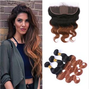 Человек волосы ткут шелковый шнурок базы Frontal с узелками # 30 Auburn Body Wave Ombre Hair С 13x4 Lace фронтального Закрытием