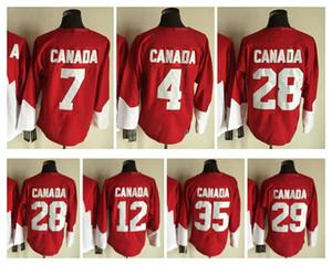 1972 Equipo Canadá Jersey 4 BOBBY ORR 7 PHIL ESPOSITO 12 YVAN COURNOYER 21 STAN MIKITA 28 BOBBY CLARKE 29 KEN DRYDEN Rojo Blanco Hockey sobre hielo