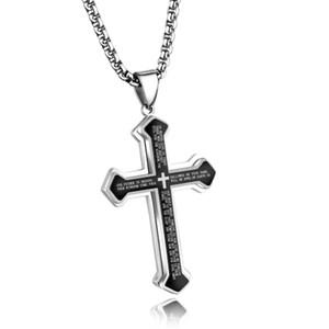 Punk Classic Cross Biblical scriptures Ciondolo Collana per Rock Uomo in acciaio inossidabile con catena maschile gioielli ragazzo regalo