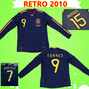 spain jersey 긴팔 2010 스페인 축구 유니폼 레트로 축구 셔츠 빈티지 클래식 컬렉션 유니폼 # 9 TORRES # 8 XAVI # 6 A.INESTA # 7 DAVID VILLA