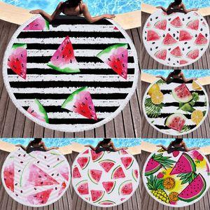 Round Beach Towel Tapestry Printed Watermelon Bath Towel Tassel Blanket For Living Room Home Decorative