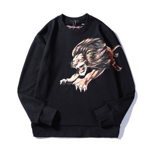 Mens estilista Padrão hoodies camisolas 19FW Homens Mulheres Moda Lion Impresso Hoodies Hip Hop Oversize capuz Tamanho S-XL
