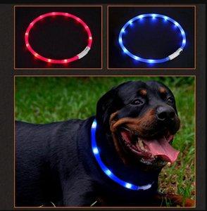 Collare per cani regolabile in carica USB Ricaricabile a LED per la notte Lampeggiante Collari per cani Collare in plastica solido per cani