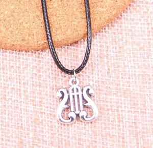 Lyre Musical Harp Music Note Symbol Halsketten-Punkweinlese-Silber-Hals Statement Schwarz Wachs Linie Halskette Anhänger für Frauen Schmuck Geschenk