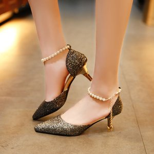 20200604 New pointy thin heel crystal Bridesmaid silver Sequin wedding shoes hollow dress shoes