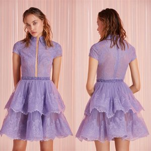 2020 Fashion High Collar Homecoming Dresses Capped Sleeve Lace Appliques Tiered Prom Gowns Custom Made Knee-Length Special Occasion Dress